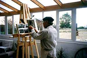 The artist at work in his studio